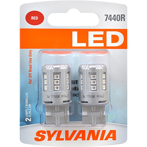 Contains 2 Bulbs SYLVANIA 7440 T20 Red LED Bulb,