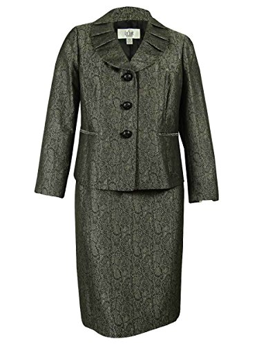 Le Suit Women's Plus-Size 3 Button Petal Collar Jacket and Skirt Set, Black/Silver, 18