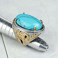 siamsmilethailandshop Fashion Stainless Steel Big Blue Turquoise Gold Plated Dragon Men Ring Size 7-10 (7)