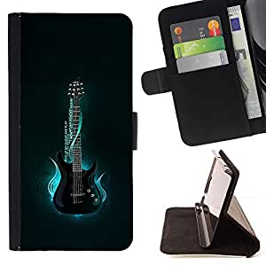 DEVIL CASE - FOR Sony Xperia Z2 D6502 - Neon Blue Guitar Glow - Style PU Leather Case Wallet Flip Stand Flap Closure Cover