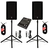 Mackie THUMP12 Powered 12' Loudspeakers Mixer Mics Cables and Stands 2000 Watts THUMP12SET7