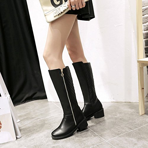 Carolbar Womens Zip Moda Casual Comfort Popolare Stivali Alti Tacco Basso Nero