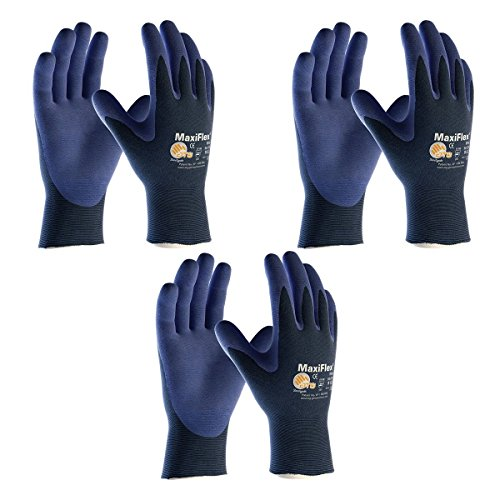 Elite MaxiFlex 34-274 Ultra Light Weight Glove with Nitrile Coated Grip on Palm and Fingers, (Sizes S-XL), Medium, 3 Piece by Elite (Image #1)