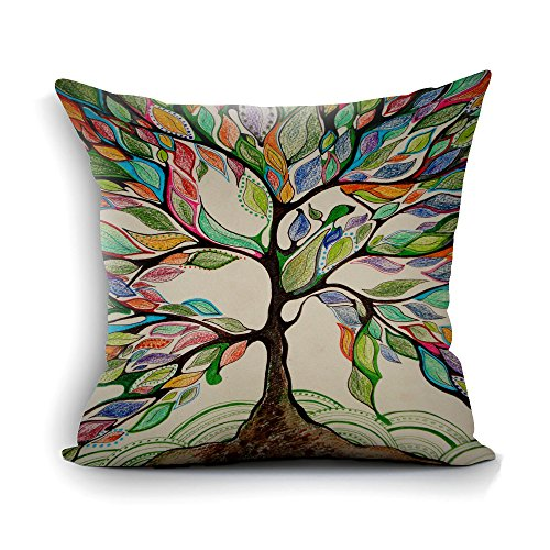 - oFloral Tree of Life Decorative Throw Pillow Case Square Cushion Cover for Sofa Couch Chair Bed Home Living Room Decoration Brown Green Yellow 18x18