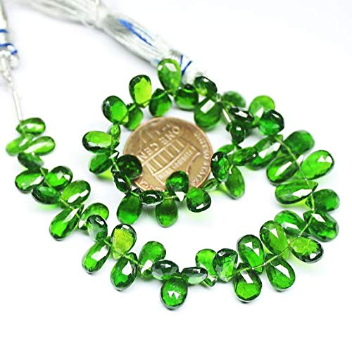 Beads Bazar Natural Beautiful jewellery Green Chrome Diopside Faceted Pear Drop Gemstone Craft Loose Beads Strand 7