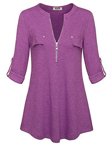 Manches Zipp Violet Djt Longues Tunique T Femmes Top Shirt Blouse Chemise HxgqaFpx