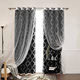 Best Home Fashion Tulle Lace & Moroccan Print Border Room Darkening Curtain Set – Stainless Steel Nickel Grommet Top – Black – 52