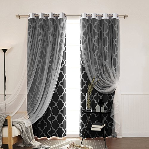 Best Home Fashion Tulle Lace & Moroccan Print Border Room Darkening Curtain Set – Stainless Steel Nickel Grommet Top – Black – 52″W x 84″L – (2 Curtains and 2 Sheer curtains) For Sale