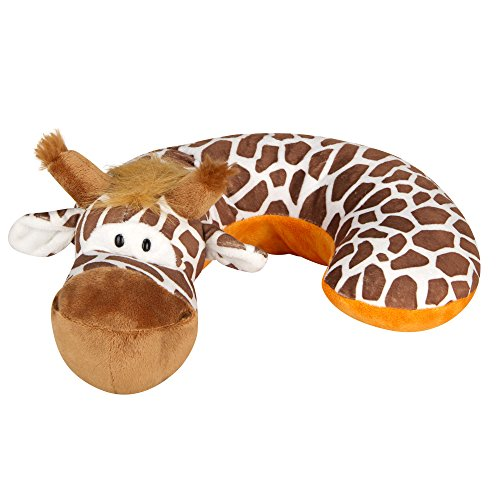 Animal Planet Kid's Neck Support Pillow, Children's Neck Pillow, Giraffe, Machine Washable, Soft and Plush, Brown