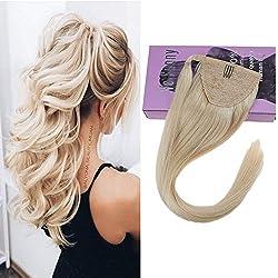 VeSunny 14inch Blonde Ponytail Extension Color #60 Platinum Blonde Real Hair Ponytail Extension Straight Remy Human Hair 80g/set