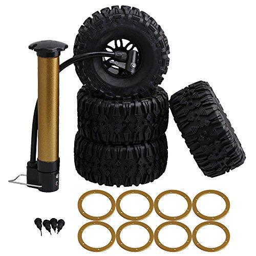 Ring 2.2 Beadlock (BQLZR 2.2inch 135mm Black AR Pattern Rubber Inflatable Tire & Golden Beadlock Rings 6 Spoke Wheel Rim for RC1:10 Rock Crawler Pack of 4)