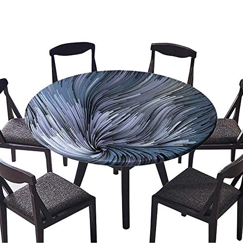 Round Premium Tablecloth Dynamic Color Series Backdrop of Colorful Fractal Clouds and Graphic Elements Stain Resistant 63