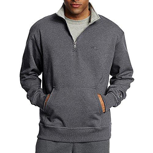 3/4 Zip Fleece Pullover - Champion Men's Powerblend Fleece 1/4 Zip Pullover_Granite Heather_M