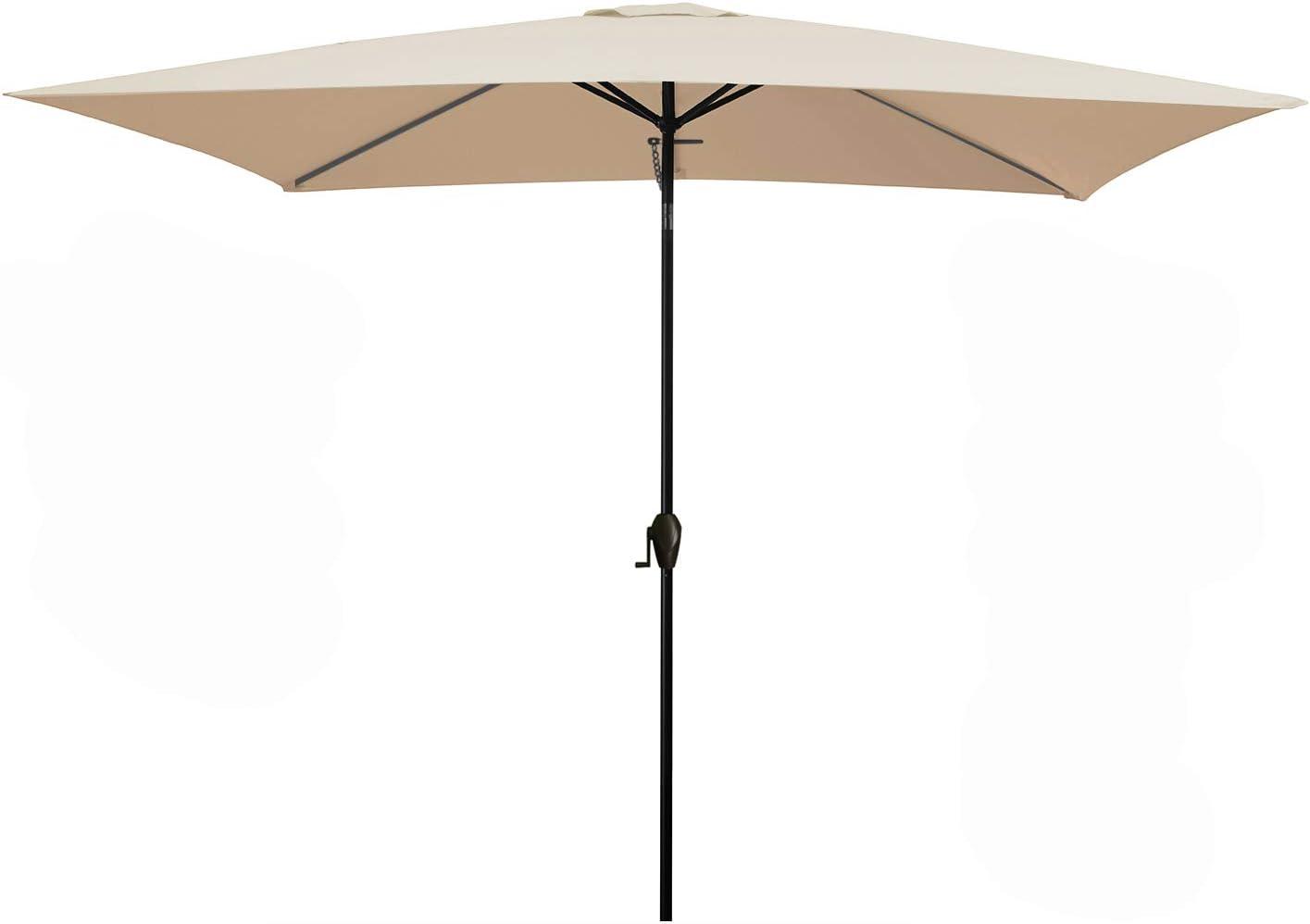 MEWAY Rectangular Patio Table Umbrella Garden Umbrella with Tilt and Crank for Commercial Event Market, Garden, Deck,Backyard,Pool and Patio Table (6.6 * 10 ft, Beige)