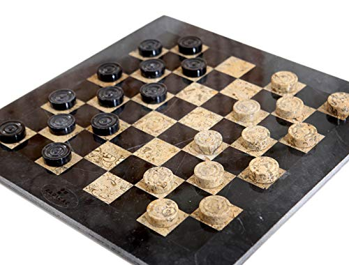 RADICALn Checkers Board Game 16 Inches Black and Brown Handmade Marble Coffee Time Checkers Game - Non Wooden Non Cloth Non Chess Set - Fun Table Draughts Board Games for Kids and Adults ()