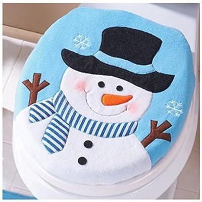 Malloom Christmas Snowman Flannel Lid Single Toilet Cover Home Festival Decoration