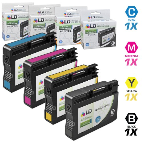 LD Remanufactured Ink Cartridge Replacement for HP 932XL & HP 933XL High Yield (Black, Cyan, Magenta, Yellow, 4-Pack) (Hp 932xl Black Ink Cartridge Cn053an High Yield)