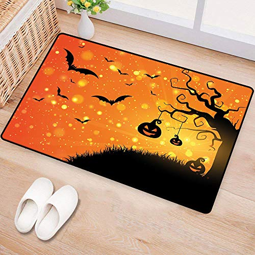 WilliamsDecor HalloweenDoor mat customizationMagical Fantastic Evil Night Icons Swirled Branches Haunted Forest HillHard and wear Resistant W16 xL24 Orange Yellow Black]()