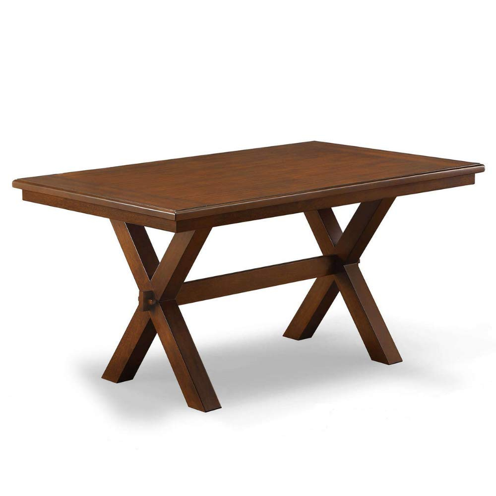 BS Dinette Table Farmhouse Kitchen Table Small Breakfast Nook Wood Trestle Legs Rustic Desk Office Rectangle Furniture Seats 6 Modern Contemporary Durable Brown