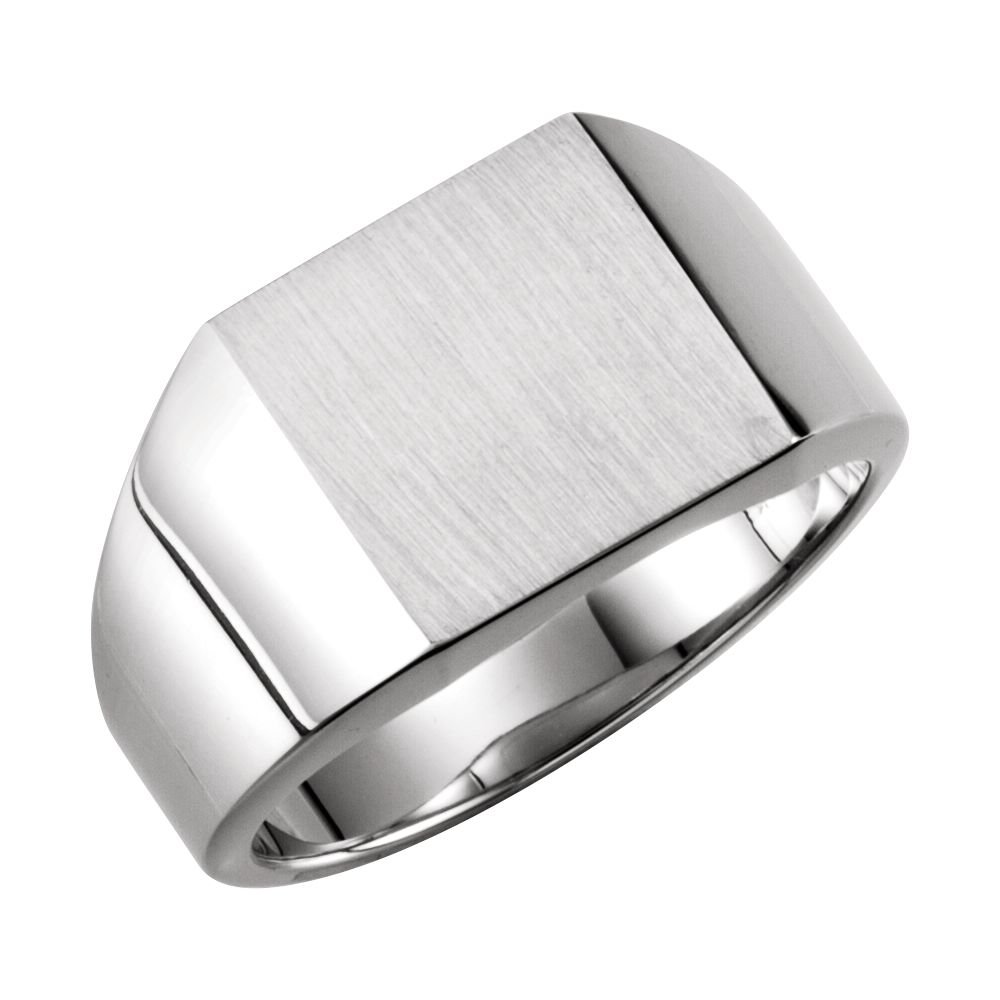Bonyak Jewelry Sterling Silver 14 mm Square Signet Ring Size 10