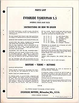 1961 EVINRUDE OUTBOARD MOTOR FISHERMAN 5 5 H P  PARTS MANUAL USED