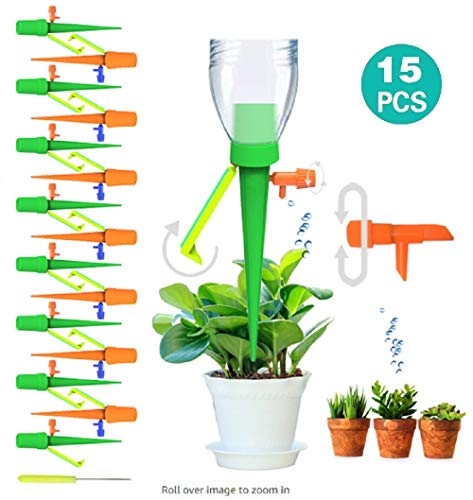 Hidreams 15 PCS Self Plant Watering Spikes, Automatic Watering Spike Slow Release with Control Valve Switch for Outdoor Indoor Plants Trees Tomatoes