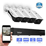 Safevant 8CH 1440P Video Security Camera System,CCTV DVR Kits with 4PCS 4.0MP (2560TVL) Indoor/Outdoor Night Vision Weatherproof Surveillance Cameras,Pre-installed 2TB HDD,Free APP,Plug&Play