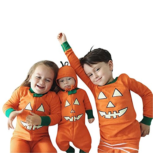 Sunbona Toddler Baby Brother Sister Matching Pumpkin Devil Print Long Sleeve Romper Jumpsuit+T shirt Tops Pants Halloween Outfits Set (big Baby 3T(1~2years), (Brother And Sister Halloween Outfits)