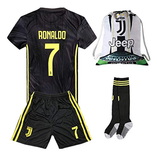 a29ae7297  7 Ronaldo Juventus Away 18 19 Season Kids Youth Soccer Jersey   Shorts    Socks and Drawstring Ball Bag Black