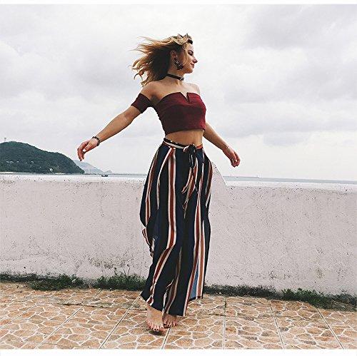 PassMe Pantaloni Larghi Donna a Gamba Larga con Vita Alta Coulisse Pantaloni a Palazzo Strisce con Spacchi Laterali da Mare Spiaggia Elegante