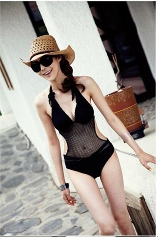 One-piece swimsuit Monokini knitted mesh Through cable tie after tie bare wire Size M L XL black.