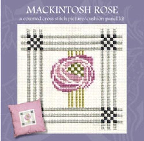 Art Pewter Rennie Mackintosh Rose Picture Cushion Panel Cross Stitch Kit - Mackintosh Panel