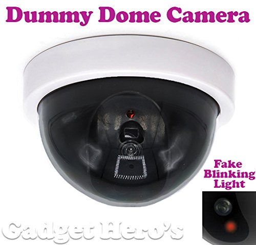 Gadget Hero's Dummy CCTV Dome Security Camera with Fake Flashing Red Led Light