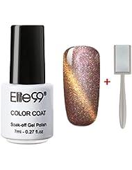 Elite99 Soak Off 3D Magnetic Cat Eye Gel Polish UV LED Nail Art 9911 Pearl Rose Gold with Gold Eye Free Magnet