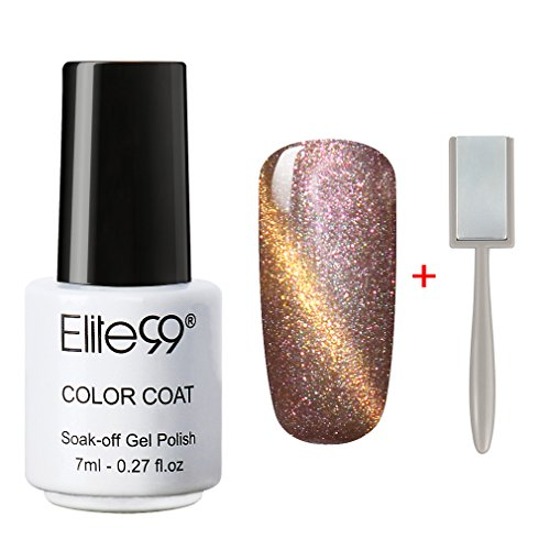 Elite99 Soak Off 3D Magnetic Cat Eye Gel Polish UV LED Nail Art 9911 Pearl Rose Gold with Gold Eye Free - Eye Pearl Cat
