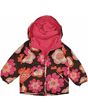Infant Girls Brown & Pink Floral Reversible Fleece Lined Jacket