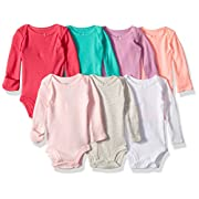 Carter's Baby 7 Pack Long Sleeve Bodysuits, multi peach, 6 Months