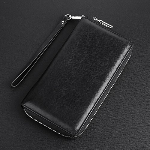 Womens-RFID-Blocking-Wallet-Real-Leather-Zip-Around-Clutch-Large-Travel-Purse