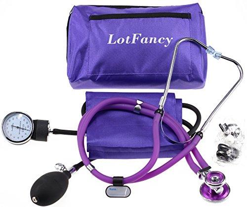 LotFancy Aneroid Sphygmomanometer & Sprague Stethoscope Kit (Portable Pressure Calibrators)