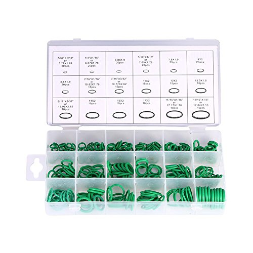 - 18 Sizes 270Pcs O-ring Box O-Ring Tools Set Assortment, Car Auto Vehicle RepairCar Air Conditioning Rubber O-Ring Tools HNBR Seals Assortment Kit, Green