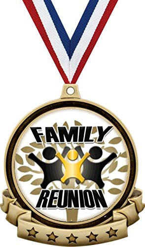 """Family Reunion Medals - 2.5"""" Gold Reunion Medal Award Includes Red White and Blue Neck Ribbon, Great Family Reunion Awards 20 Pack"""