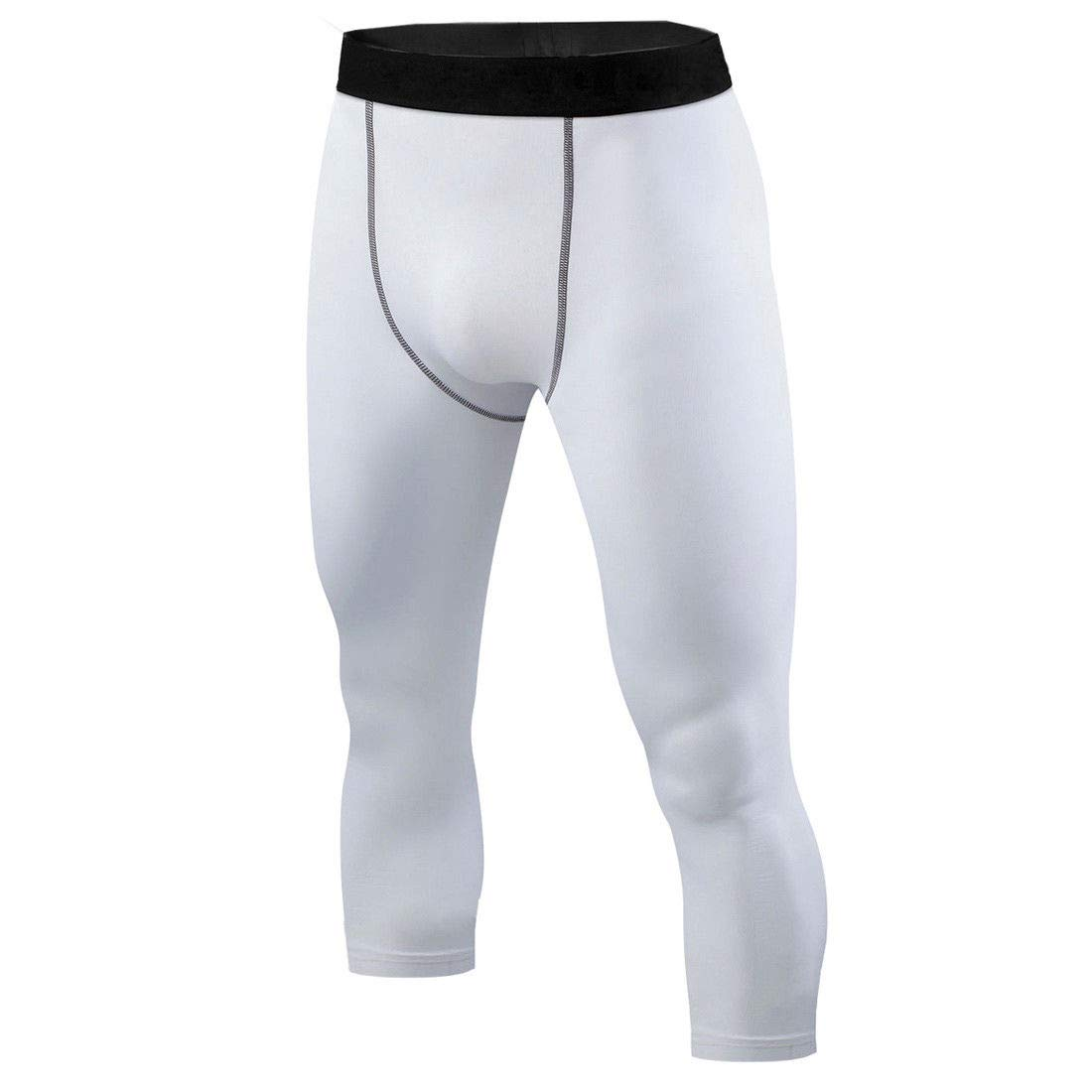 M-L Mens White Compression 3//4 Cropped Pants Under Base Layer Tights #HLFN
