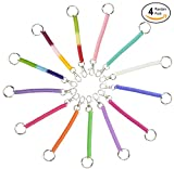 spiral coiled key ring - Ram-Pro Spiral Retractable Spring Coil Keychain - Colorful Flexible Hanging Stretch Cord Pocket Key Chain with Snap on Clip Hook (Pack of 4)