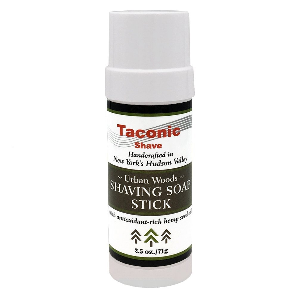 Taconic Shave Urban Woods Scent Shaving Soap Stick with Antioxidant-Rich Hemp Seed Oil 2.5 oz./71g Parker Safety Razor