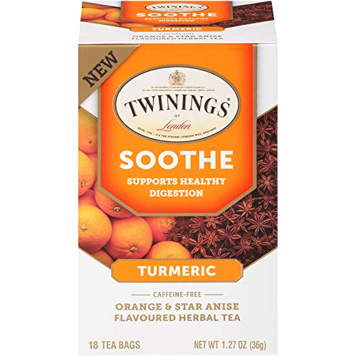 Twinings of London Daily Wellness Tea, Soothe Digestion Supporting Turmeric, Orange & Star Anise, Flavored Herbal Tea, 18 Count (Pack of 6)