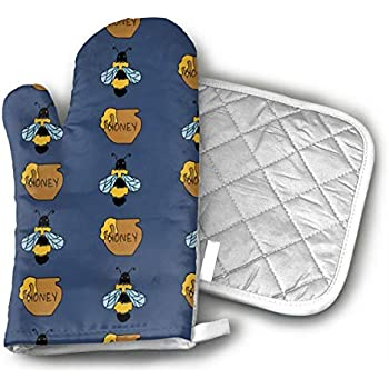 CHFSTi Oven Mitts Bee and Honey Blue Non-Slip Silicone Oven Mitts& Pot Holders, Heat Resistant to 500Fahrenheit Degrees Kitchen Oven Gloves