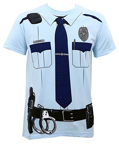 Johnny Law Men's Cop Uniform Slim-Fit T-Shirt Light Blue L -