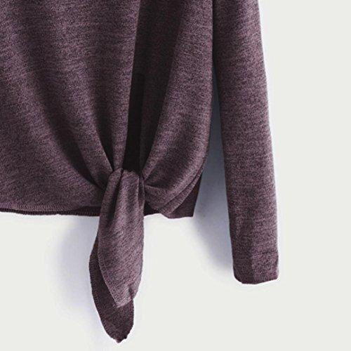 Colore Moda Rosso Shirt Manica Moda Casual da Maglietta Attraversare Lunga Legato Maglietta Camicia T Puro Bello Ningsun Chic Camicetta Solido Top Donne Vino Donna Eleganti SnxzF