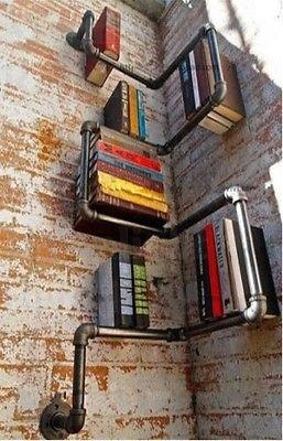 Industrial Urban Style Galvanised Steel Pipe Shelf Storage Shelving Book NEW (Black) MLR