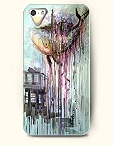 Phone Case For iPhone 5 5S Sharks And House - Hard Back Plastic Case / Oil Painting / OOFIT Authentic